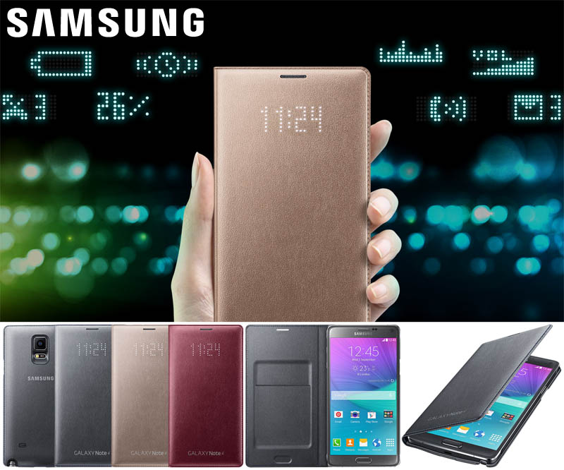 size 40 49615 868af Official LED Flip Cover Case Samsung Galaxy Note 4 N9100