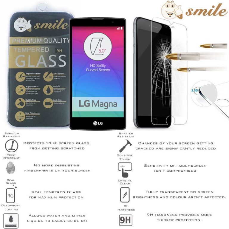 Smile HD Tempered Glass LG Magna H500